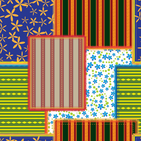 seamless pattern of the patchwork Vector