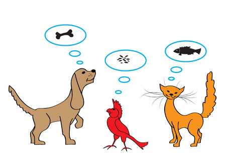 set of the cartoon illustrations of dog, cat and bird Stock Vector - 5347385