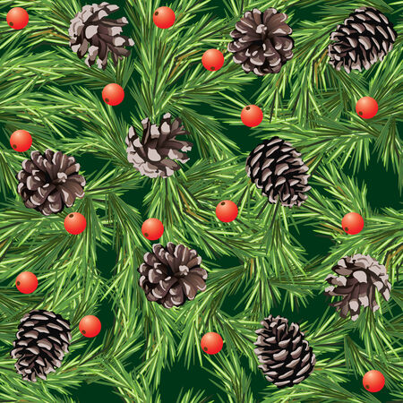 Christmas seamless pattern with pine cones Vector