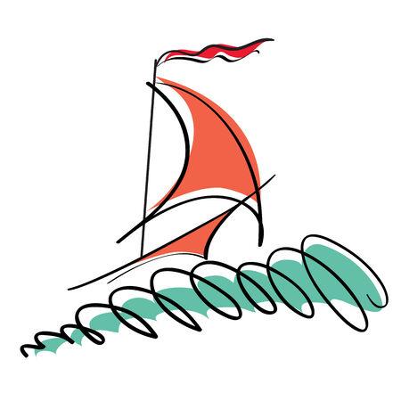 scrawl: illustrazione della barca stilizzata