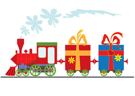 cartoon  steam locomotive with gift boxes Stock Vector - 5488851