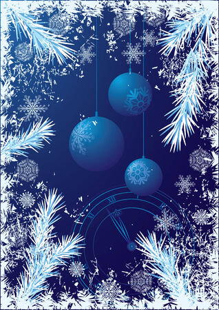 흰 서리:  New Year or Christmas  background with branches of fir and Christmas-tree decorations 일러스트