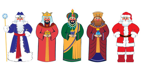 wise men: Christmas characters: Santa Claus, Three Kings and Russian Ded Moroz (Grandfather Frost) Illustration