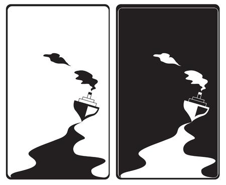 steamship: vector illustratie van de steamship in zwart-wit Stock Illustratie
