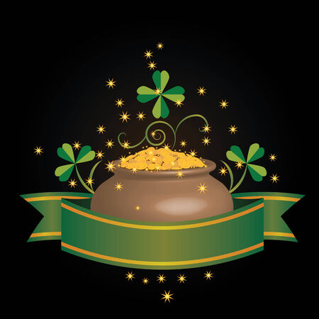 plant pot: vector illustration for St. Patricks Day with pot of money