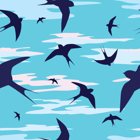 seamless vector background with swallows and clouds Vector