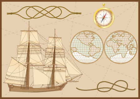 sailer: set of sea elements: tallship, sea knots ( hawser bend and figure of eight knot),  compass and sea chart Illustration