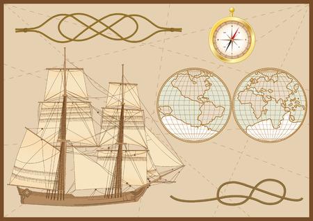 tallship: set of sea elements: tallship, sea knots ( hawser bend and figure of eight knot),  compass and sea chart Illustration