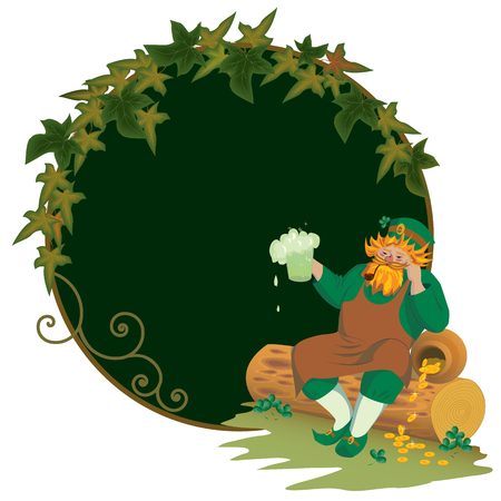 Leprechaun is sitting and drinking his beer Stock Vector - 6243803
