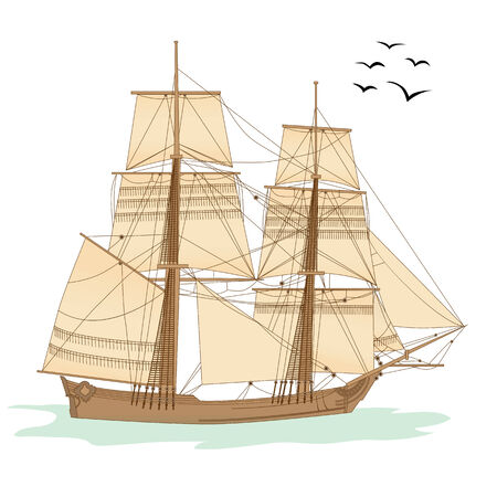 tall ship:  illustration of the tall ship of XVIII  century