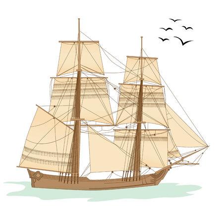 illustration of the tall ship of XVIII  century Stock Vector - 6243804