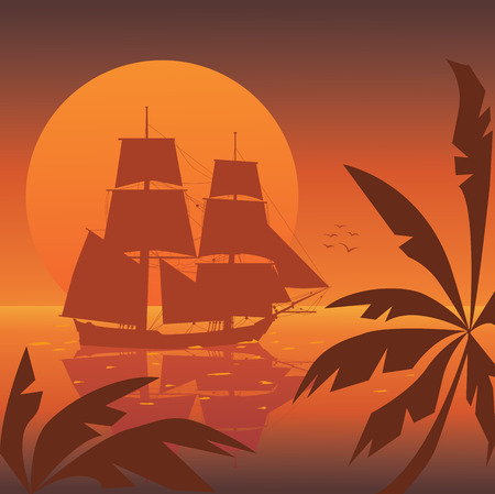 xviii: vector illustration of the tall ship of XVIII  century at sunset
