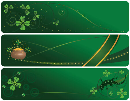clover banners: set of the St. Patricks Day banners with pot and lizard