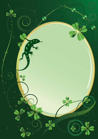 St. Patrick's Day background with shamrock and lizard Stock Vector - 6377522