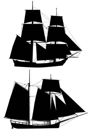 siluetas de vector de los barcos de alto de siglo XVIII aislados en blanco
