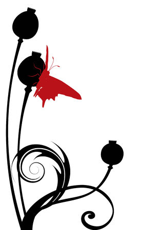 illustration of the Poppy Seed Heads with butterfly Stock Vector - 6570303