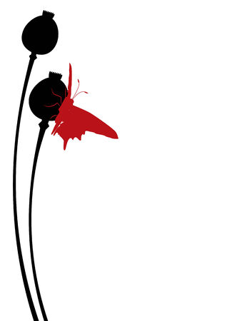 poppy seed: illustration of the poppy seed heads with butterfly Illustration