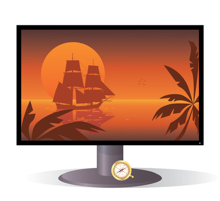 xviii: vector illustration of the monitor with tall ship of XVIII  century at sunset Illustration