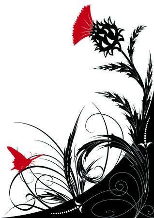 floral background with thistle 矢量图片