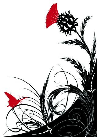 ostrożeń: floral tła z thistle  Ilustracja