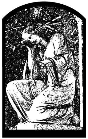 angel cemetery: grunge illustration of the angel