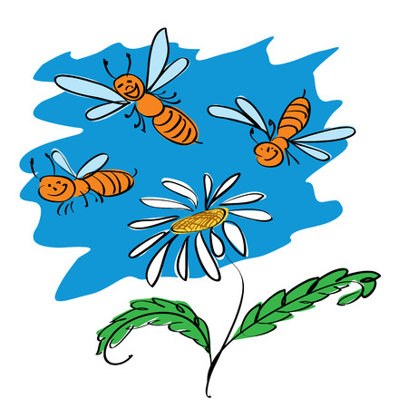 funny bees fly over flower