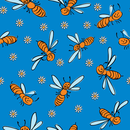 seamless background with funny  bees Illustration
