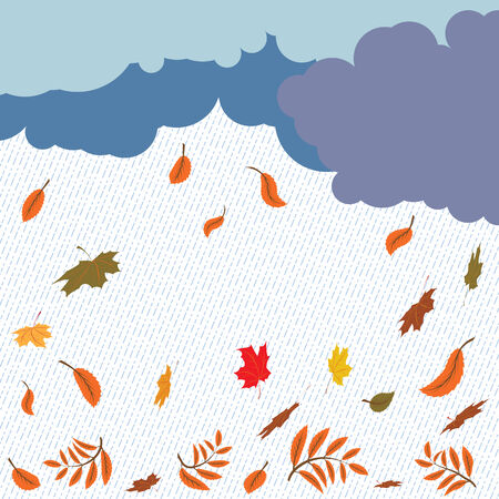 autumnal background with rain and foliage Stock Vector - 7138704