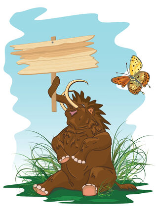 postcard with mammoth and butterfly Vector