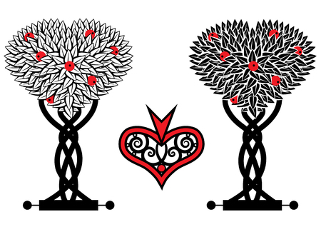 inverse: set of the stylized trees in black and white  Illustration