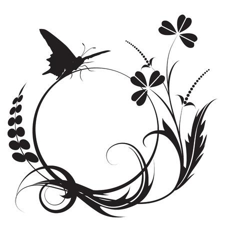 zwart wit tekening: bloem achtergrond met vlinder in zwarte en witte kleuren