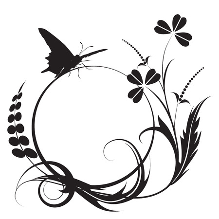 black and white line drawing: floral background with butterfly in black and white colors