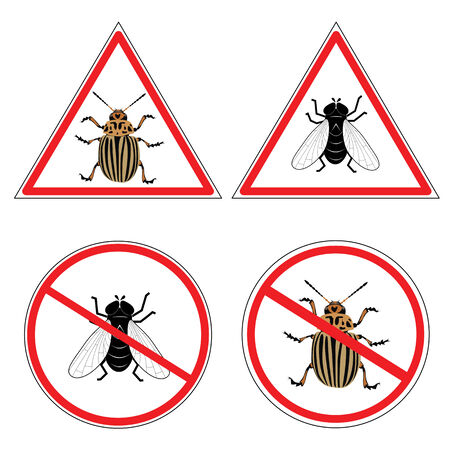 colorado: fly and colorado potato beetle on the road signs Illustration
