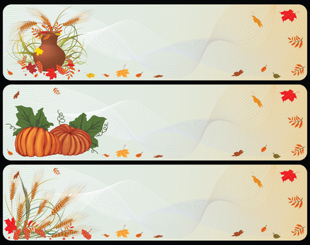 set of autumnal banners with pumpkins, cereals and  ashberries Stock Vector - 7486768