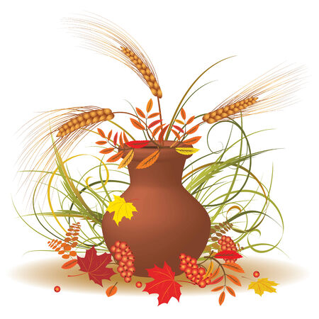 bunch of autumnal leaves and cereals Stock Vector - 7486766