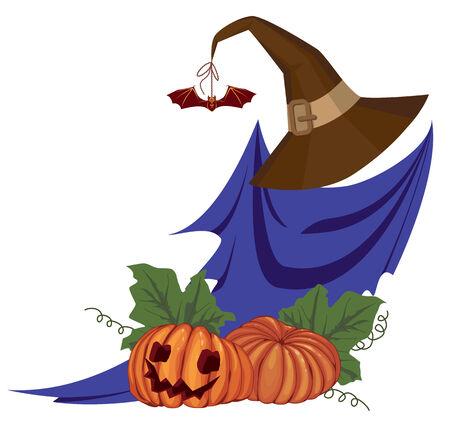 presencia: Ilustraci�n de Halloween con fantasmas y calabazas  Vectores