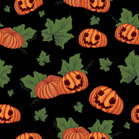 seamless Halloween background with the pumpkins Vector