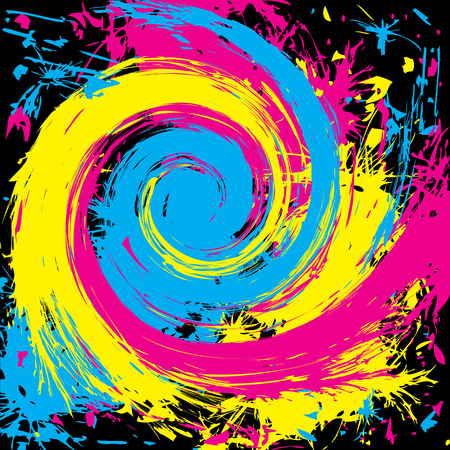 curl whirlpool: abstract grunge cmyk background with whirlpool