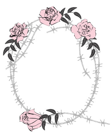 barbwire: vector frame with roses and barbed wire
