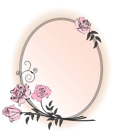 vector frame with bunch of pink roses Illustration