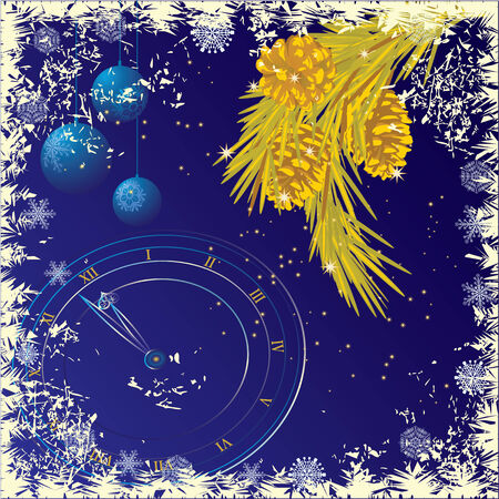 흰 서리:  New Year or Christmas  background with branches of pine and Christmas-tree decorations