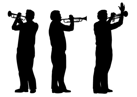 vector set of silhouettes of trumpeter in black and white colors