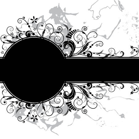 vector floral banner in black and white colors Vector