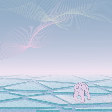 polaris:  background with northern sea and polar bear