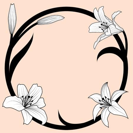 muguet fond blanc: illustration vectorielle de lis dans le style art nouveau Illustration