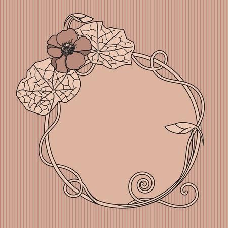 nasturtium: art nouveau floral frame with nasturtium