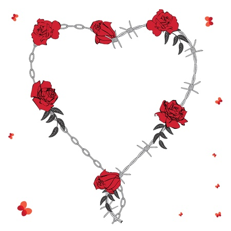 valentine background with heart, roses, chain and barbed wire Stock Vector - 8537947