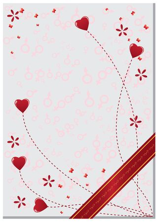 valentine postcard with hearts and butterflies Stock Vector - 8537948