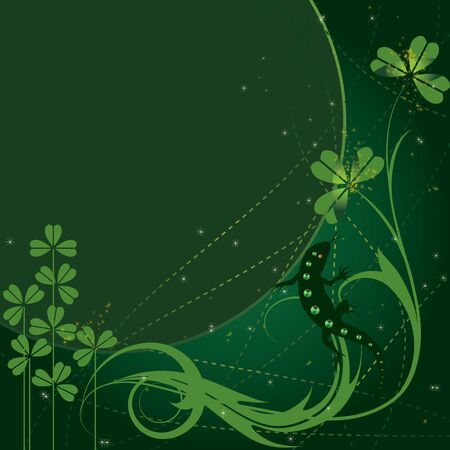 St. Patricks Day background with lizard Vector