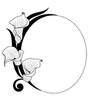 dotted lines: deep-bodied crevalle floral background  in black and white colors Illustration